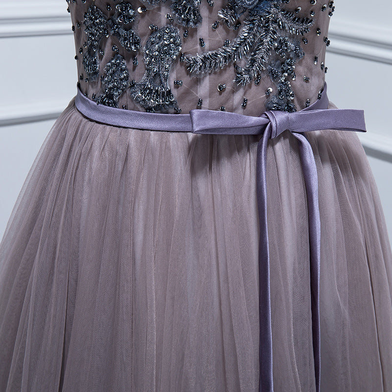 Elegant v neck tulle lace long prom dress, lace evening dress