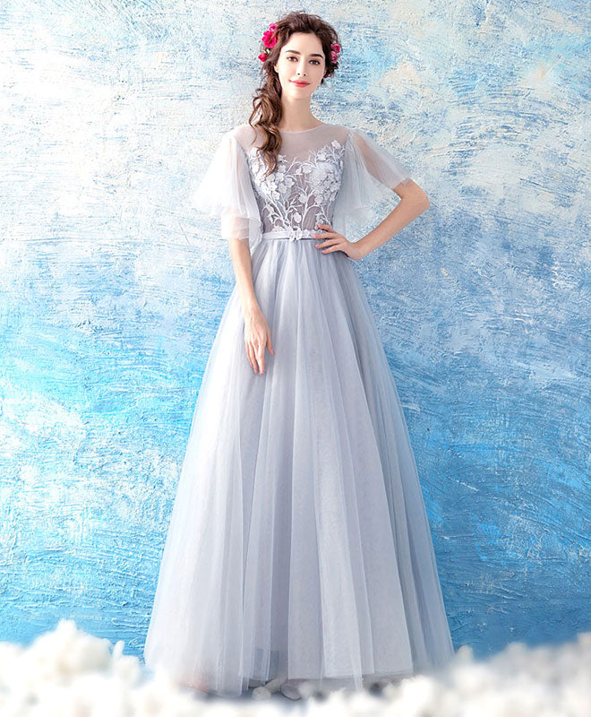Gray tulle ace long prom dress, gray evening dress