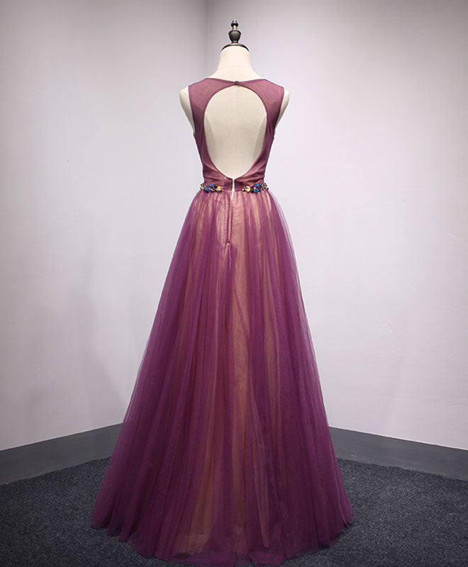 Simple round neck tulle long prom dress, formal dress