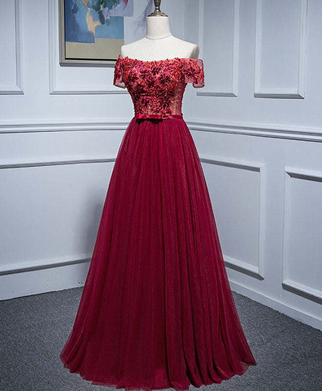 Burgundy lace off shoulder long prom dress, burgundy evening dress