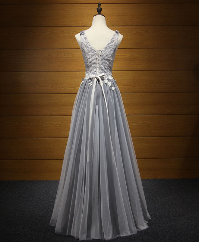 Elegant gray v neck tulle long prom dress, evening dress