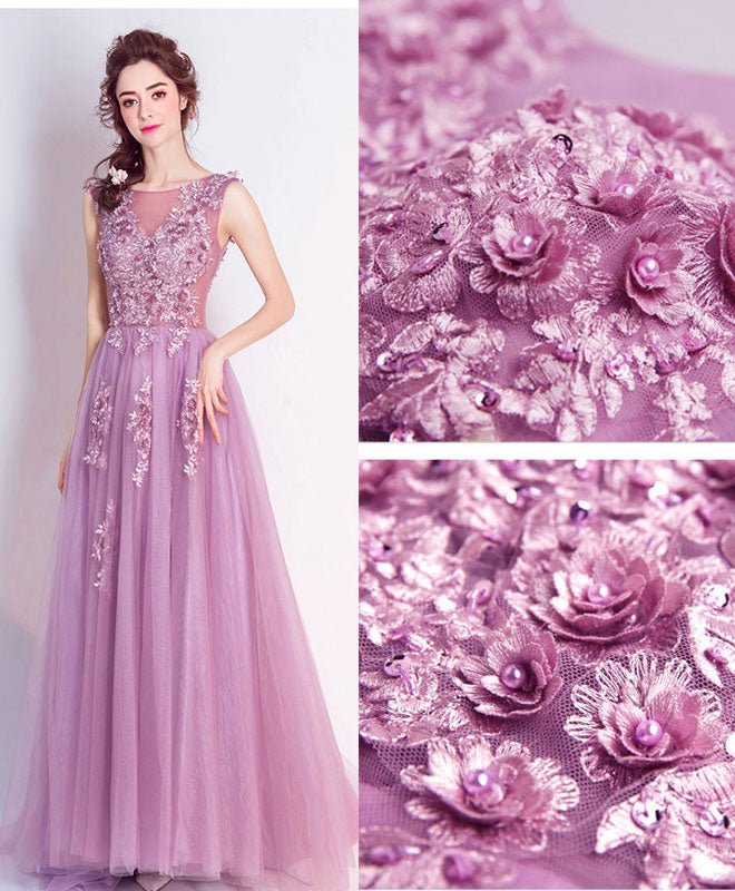 Stylish round neck tulle long prom dress, lace evening dress