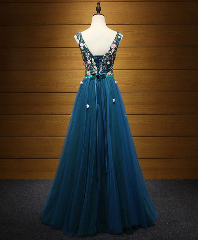 Elegant blue v neck tulle long prom dress, evening dress
