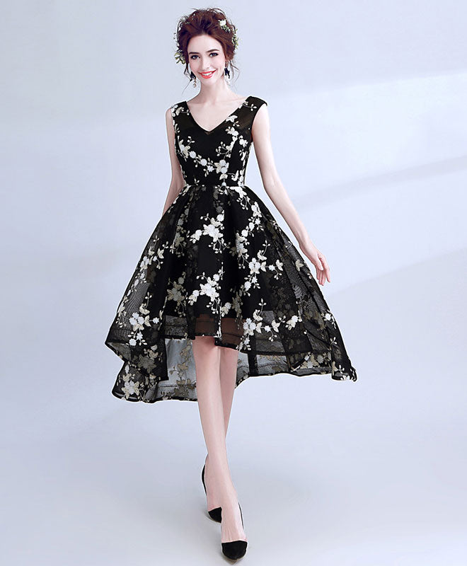Black v neck lace short prom dress, high low evening dress