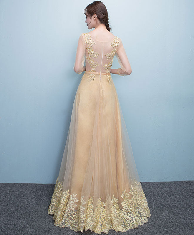 Glod lace tulle long prom dress, lace evening dress