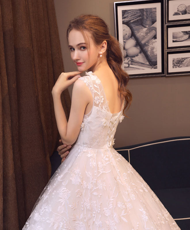 White round neck lace tulle long prom dress, wedding dress