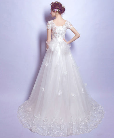Unique tulle lace long prom dress, tulle lace wedding dress