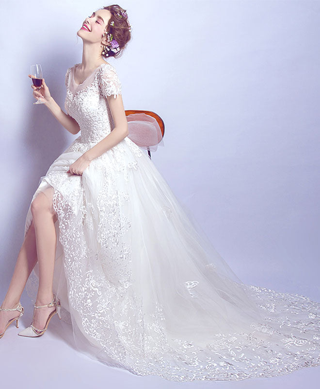 White lace tulle long prom dress, wedding dress