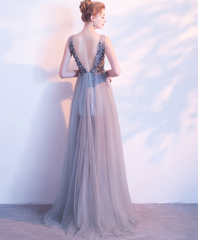 Gray v neck beaded tulle long prom dress, gray evening dress