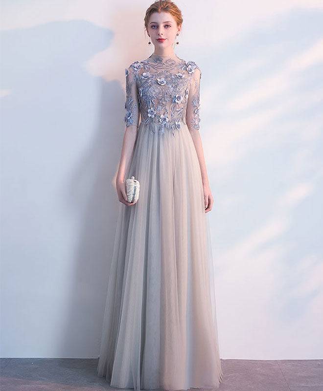 Long Prom Dresses with Sleeves and Lacce