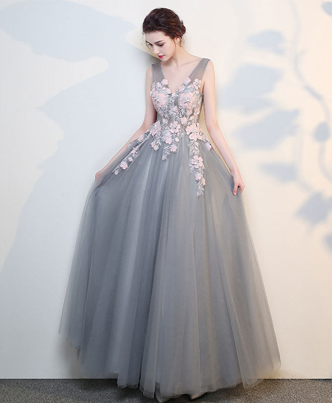 Grey Gowns Wedding: Gray V Neck Lace Long Prom Dress, Grey Evening Dress