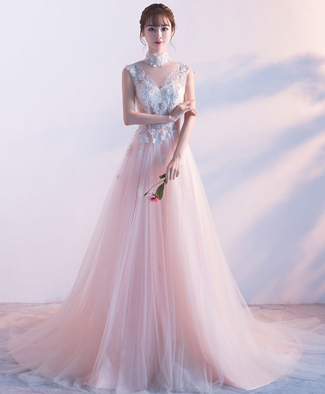 Pink high neck lace long prom dress, pink evening dress