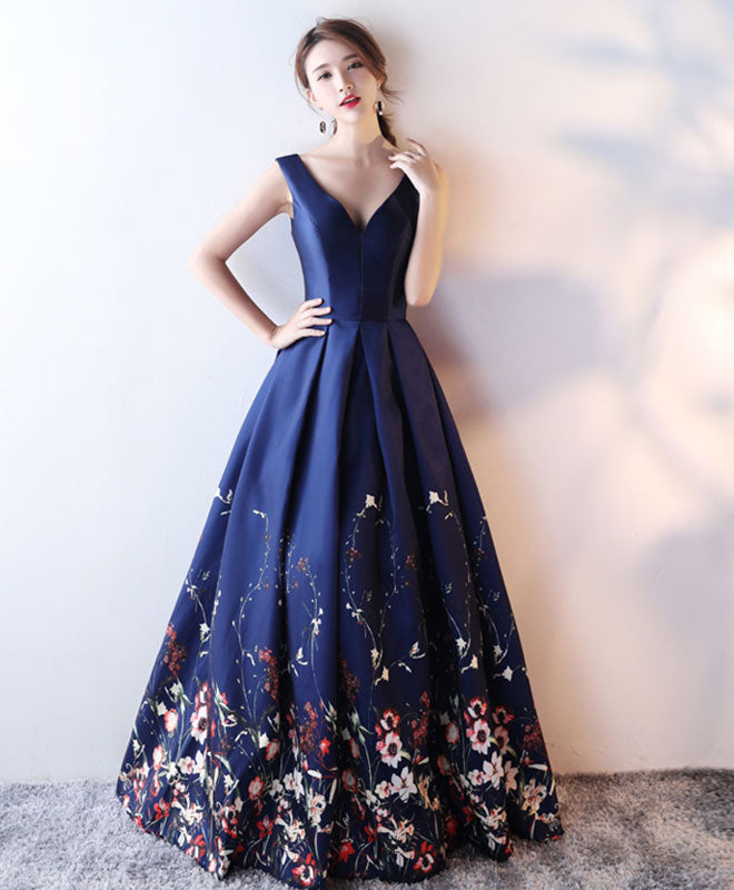 Dark blue floral pattern long prom dress, blue evening dress – shopluu