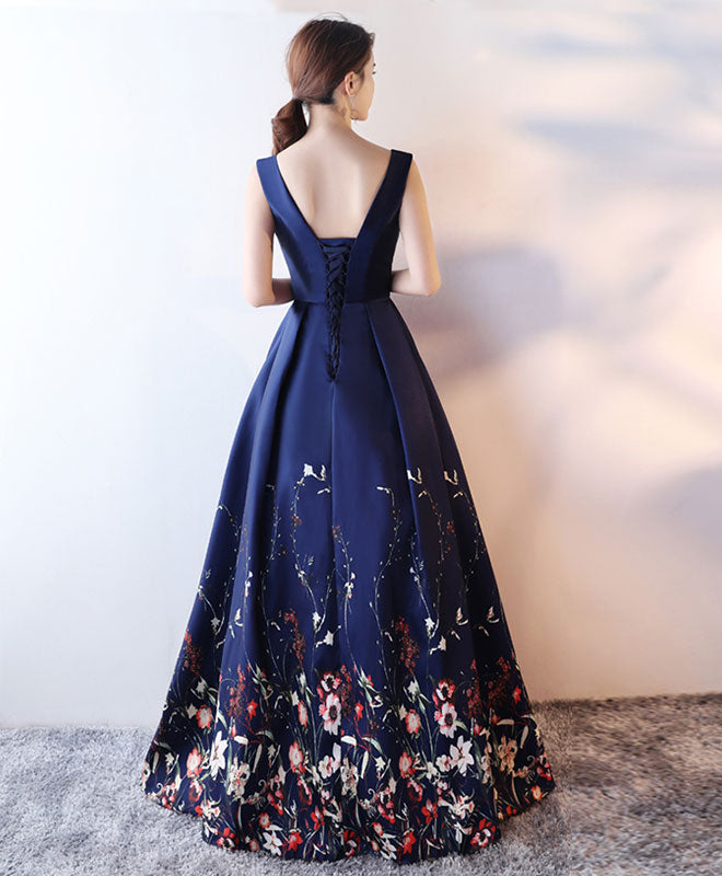 Dark blue floral pattern long prom dress, blue evening dress
