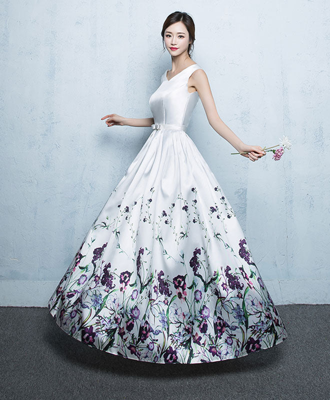 White floral pattern long prom dress, white evening dress
