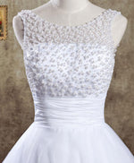 White round neck lace short prom dress, white evening dress