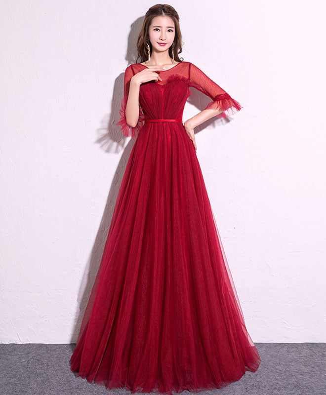 Burgundy tulle long prom dress, burgundy evening dress