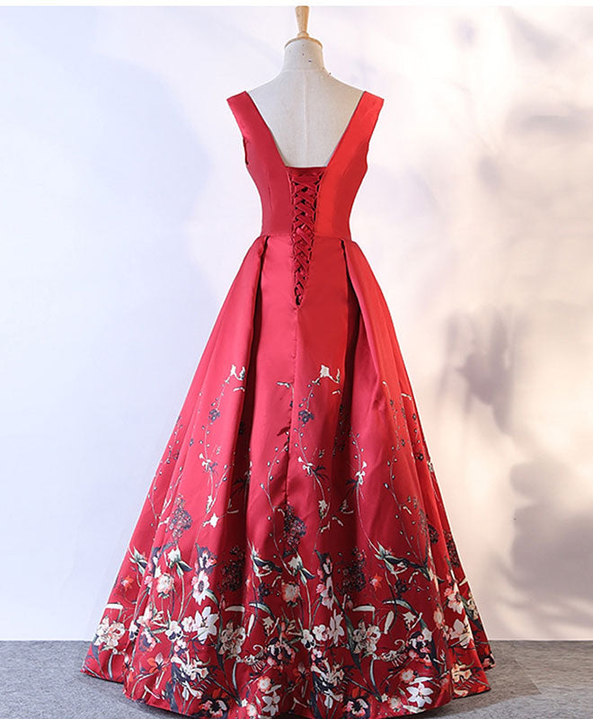 Burgundy floral pattern long prom dress, burgundy evening dress