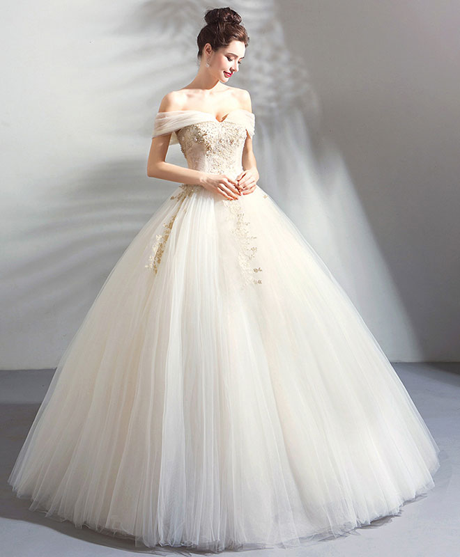 White tulle off shoulder long prom dress, evening dress