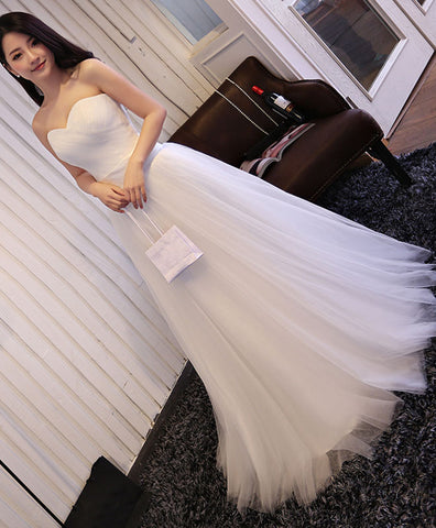 White lace tulle off shoulder long prom dress, wedding dress