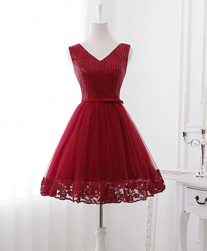 Cute v neck sequins tulle short prom dress, homecoming dress