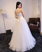 White sweetheart neck tulle long prom dress, wedding dress