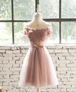 Pink lace tulle short prom dress, homecoming dress