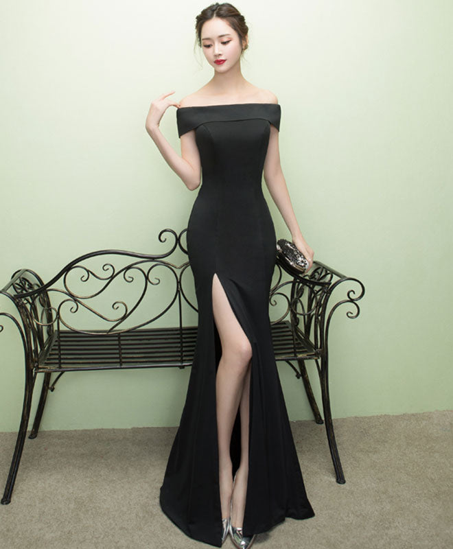 Black mermaid long prom dress, black evening dress