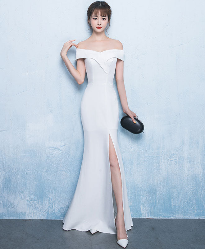 White mermaid long prom dress, white evening dress