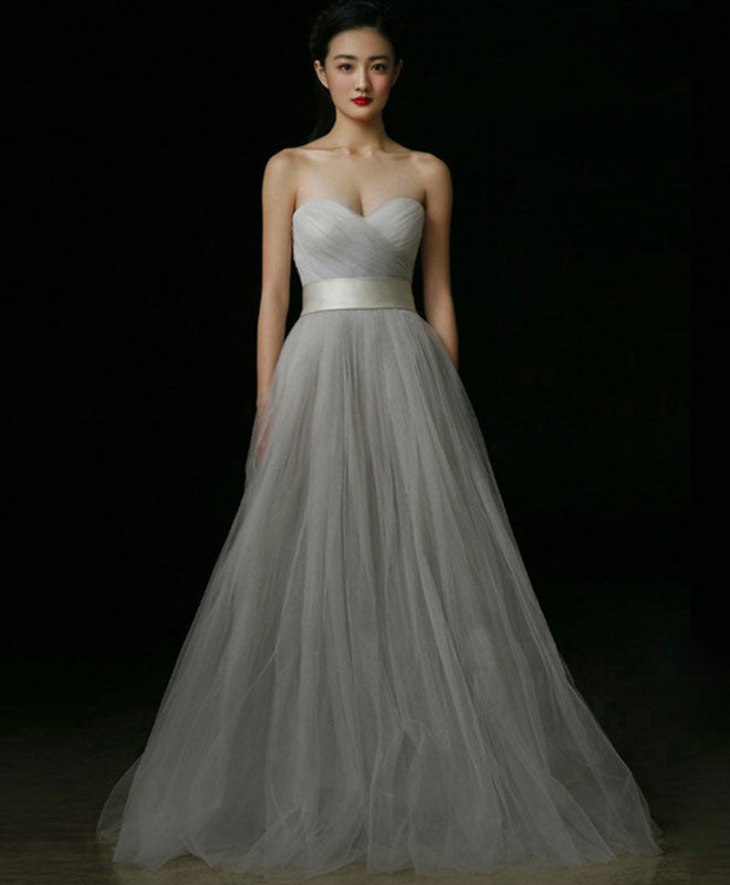 Gray tulle A line long prom dress, gray formal dress