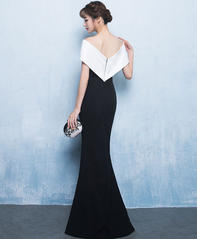 Mermaid white and black long prom dress, formal dress