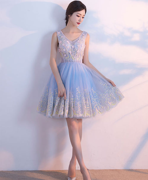 Cute light blue v neck tulle short prom dress, homecoming dresses