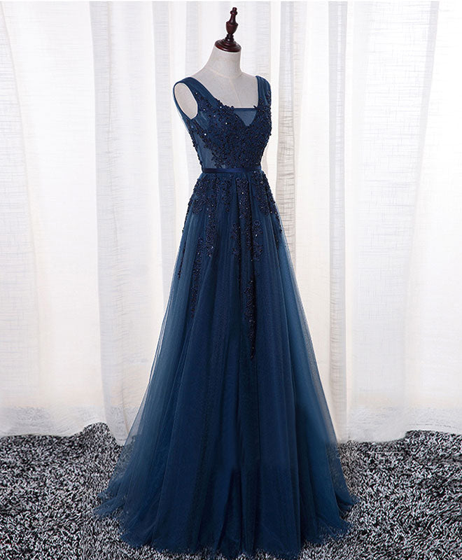 Dark blue lace tulle long prom dress, lace evening dress