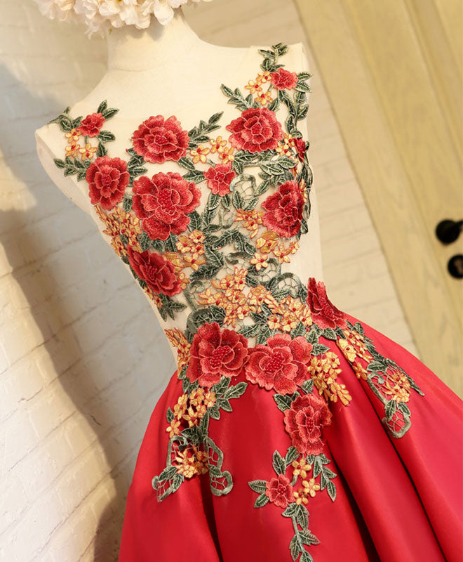 Cute red lace high low prom dress, homecoming dress
