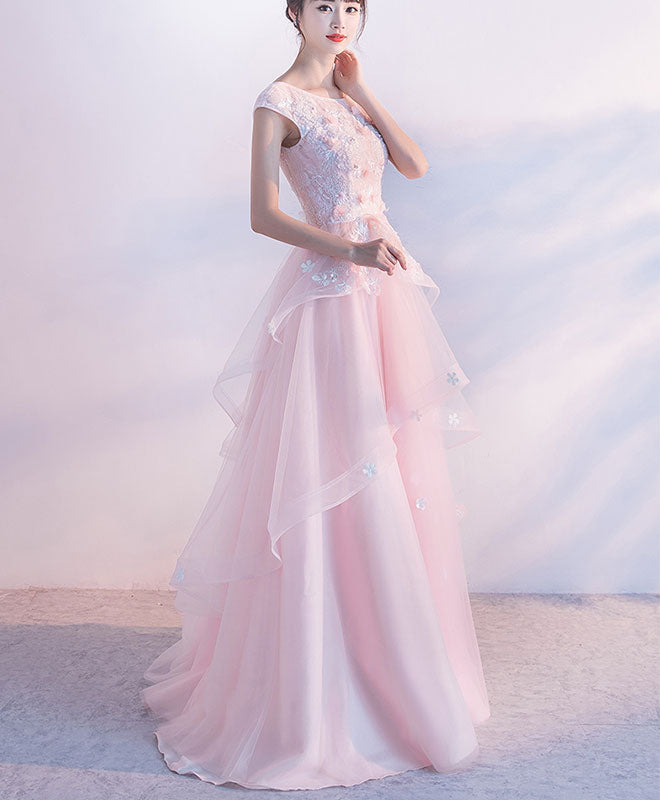 Pink A line lace tulle long prom dress, pink evening dress