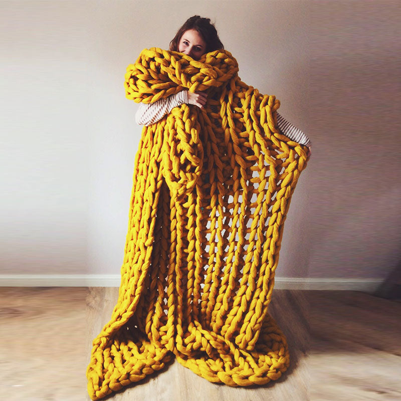 Yellow chunky knit blanket knitted blanket, chunky blanket, bulky gift