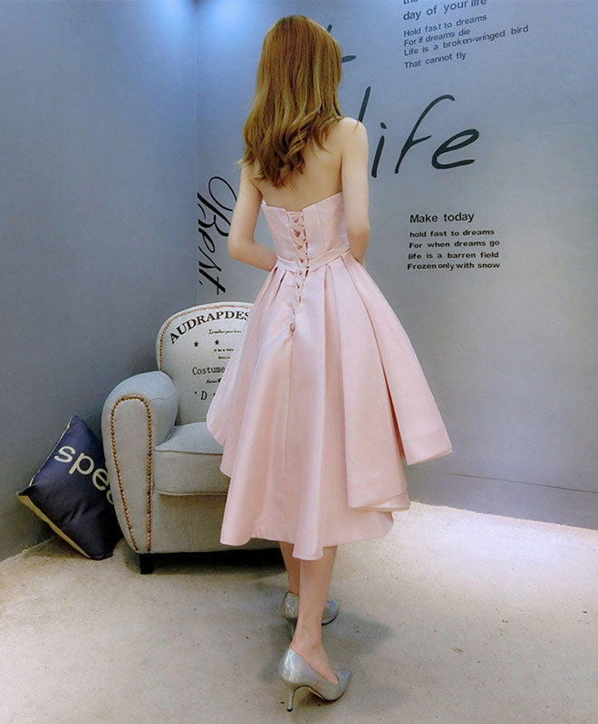 Stylish pink swetheart neck satin hight low prom dress, homecoming dress
