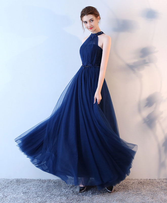 Blue halter tulle long prom dress, blue evenin gdress
