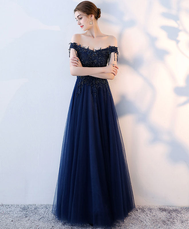 Dark blue tulle beaded long prom dress, blue evening dress