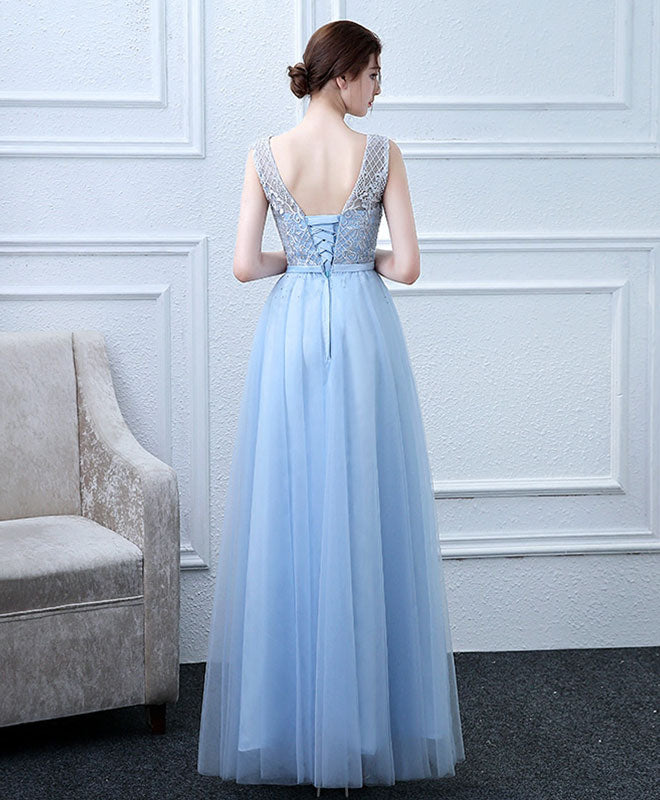 Sky blue tulle lace long prom dress, lace evening dress
