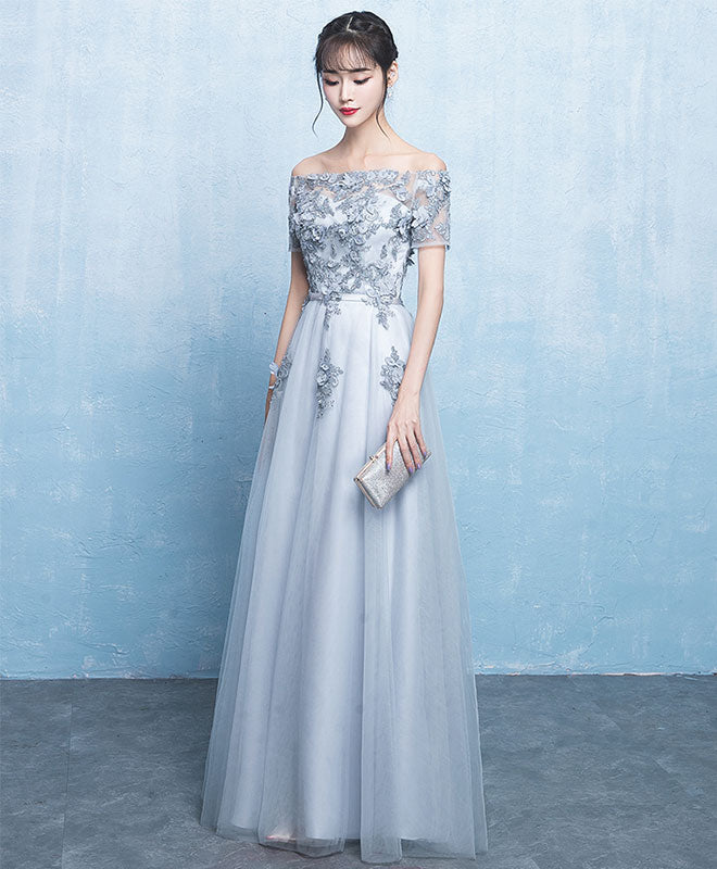 Gray tulle A line long prom dress, gray evening dress