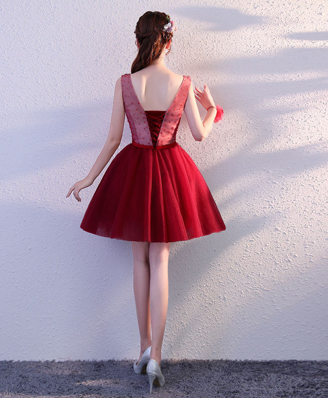 Burgundy v neck tulle short prom dress, homecoming dress