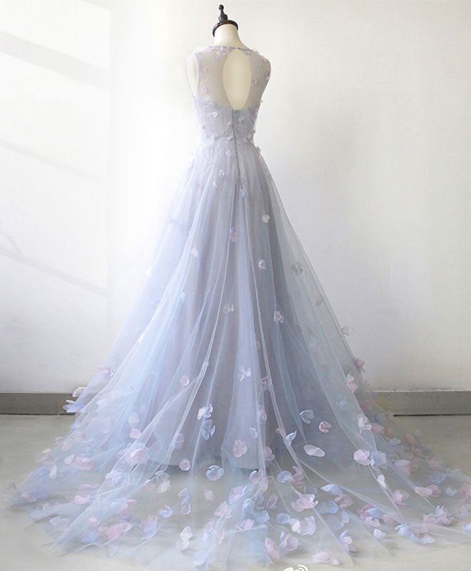 Light blue tulle long prom dress, blue evening dress