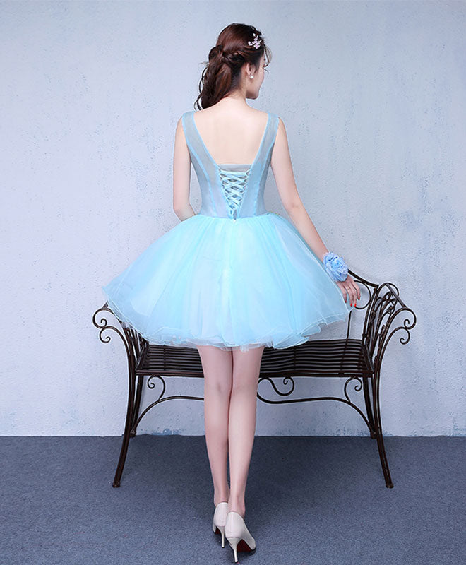 Cute v neck flowers tulle short prom dress, homecoming dress
