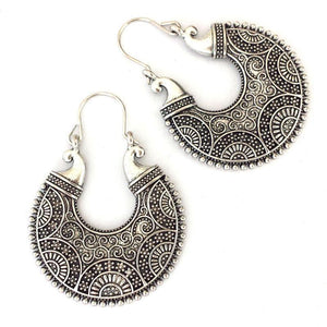 Tibetan Silver Round Ethnic Dangle - Tusker Clothing