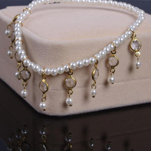 Handmade Crystal Pearl Anklets Payal Foot Jewelry - Tusker Clothing