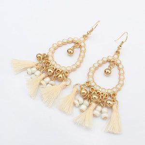 Henna Styled Drop Shape Bead String Earrings - Tusker Clothing