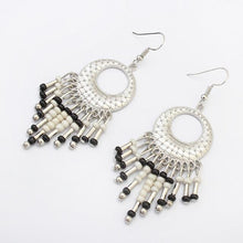 Geometric Drop Beads Long Ethnic Indian Earrings - Tusker Clothing