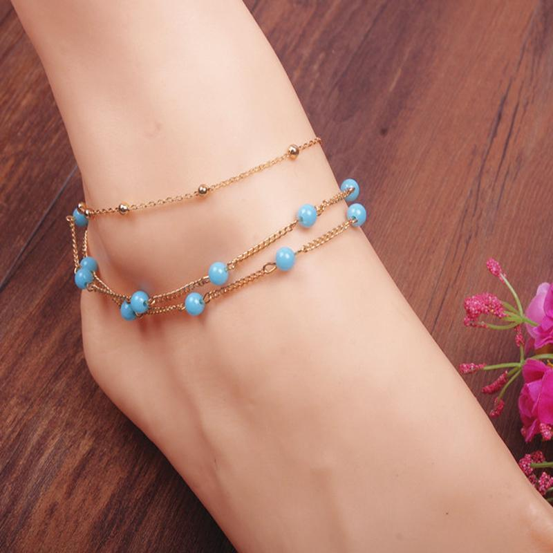 Multi Chain Blue Beads Beach Anklet - Tusker Clothing
