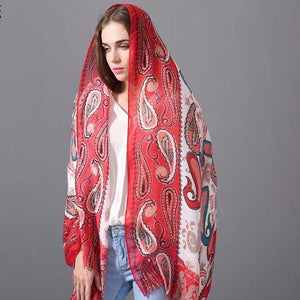 Indian Chic Hyderabad Satin Red Scarf Shawl - Tusker Clothing